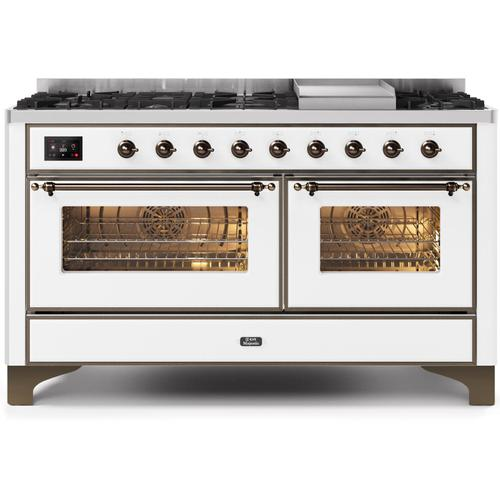 Ilve - Majestic II 60 Inch Dual Fuel Natural Gas Freestanding Range in White with Bronze Trim