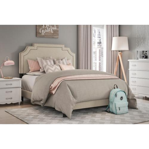 Nailhead Marquee Upholstered Twin Bed in Beige Linen