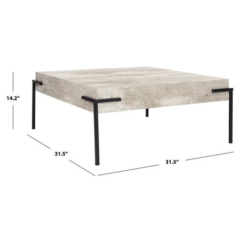 Safavieh - Eli Square Coffee Table - Light Grey / Black