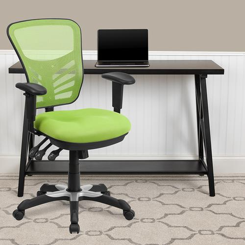 Flash Furniture - Mid-Back Green Mesh Multifunction Executive Swivel Ergonomic Office Chair with Adjustable Arms