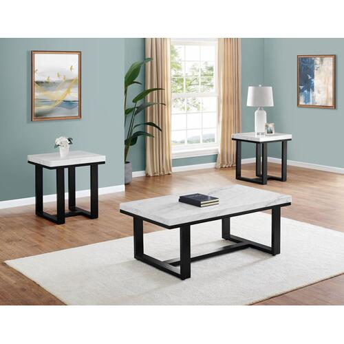 Lucca 3-Piece Marble Top Set(Cocktail & 2 End Tables)