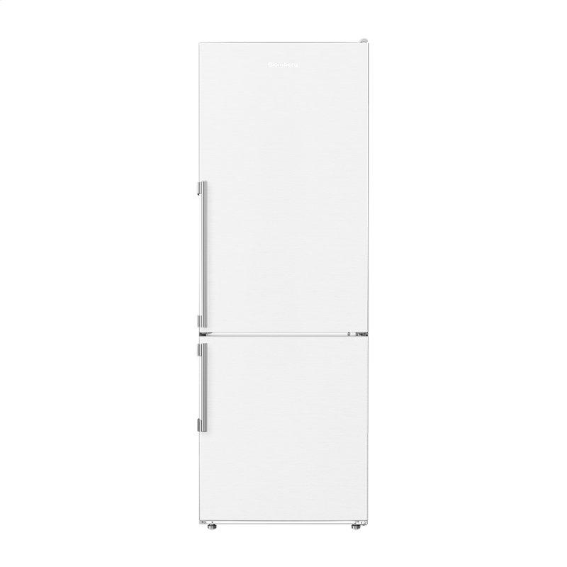 24in 12 cuft bottom freezer fridge with full frost free, white