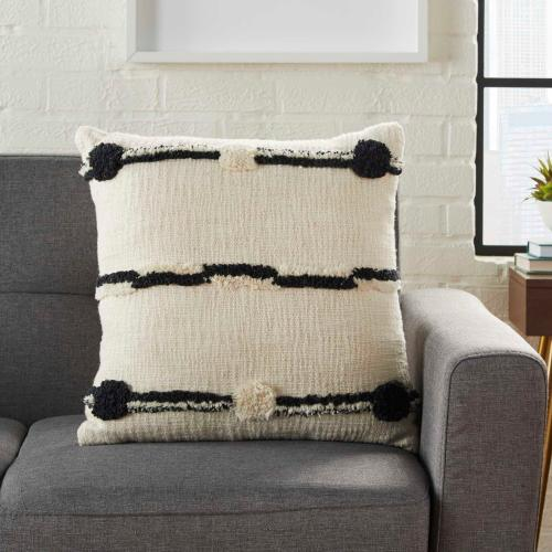 "Life Styles Zh714 Black Ivory 18"" X 18"" Throw Pillow"