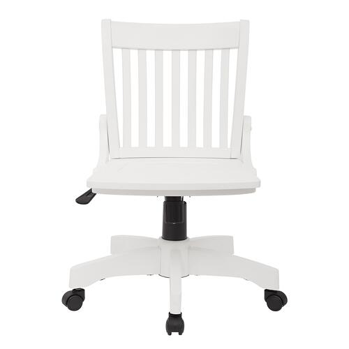 Deluxe Armless Wood Bankers Chair With Wood Seat (white Finish)
