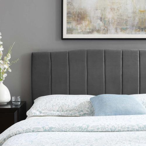 Camilla Channel Tufted Twin Performance Velvet Headboard in Charcoal