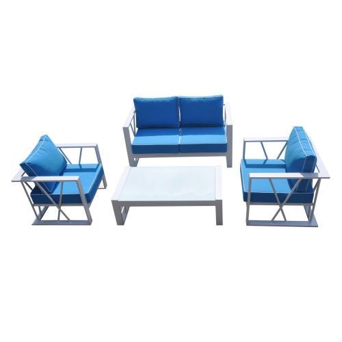 Renava Palms Outdoor Blue & White Sofa Set