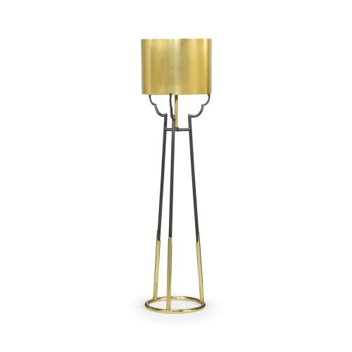 Contemporary Antique Satin Gold Brass & Black Stainless Steel Floor Lamp