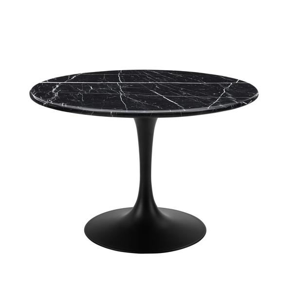Colfax 45 inch Round Black Marquina Marble Top/Black Base Dining Table