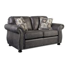 Elk River Loveseat in Faux Grey Leather Fabric with Nailhead