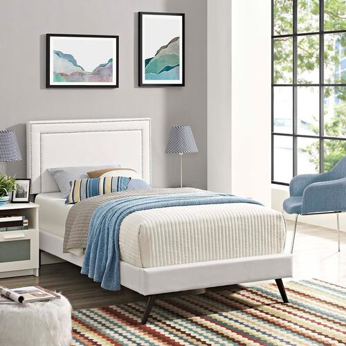 Modway - Virginia Twin Vinyl Platform Bed with Round Splayed Legs in White