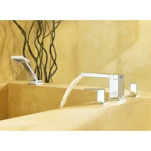 90 Degree chrome two-handle roman tub faucet includes hand shower