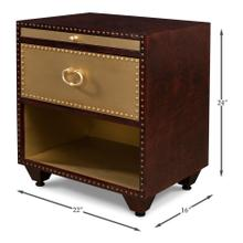See Details - Dore Leather & Brass Bedside Chest