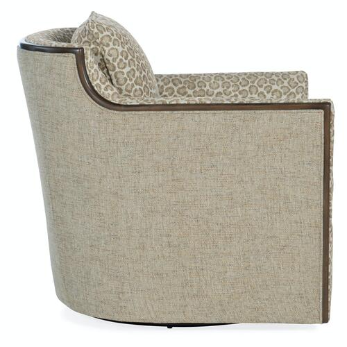 Living Room Oakley Exposed Wood Swivel Chair