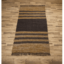 See Details - Black & Brown Striped Leather Chindi 5x8 Rug (Each One Will Vary)