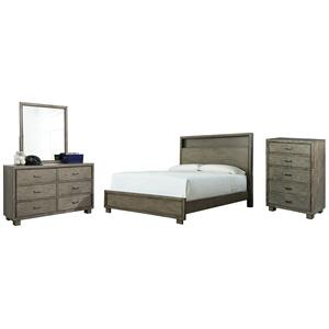 King Bookcase Bed With Mirrored Dresser and Chest