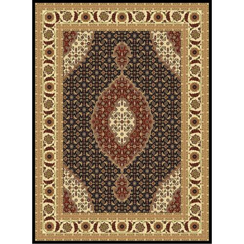 "Persian Design 1 Million Point Heatset Monalisa T02 Area Rugs by Rug Factory Plus - 5'4"" x 7'5"" / Black"