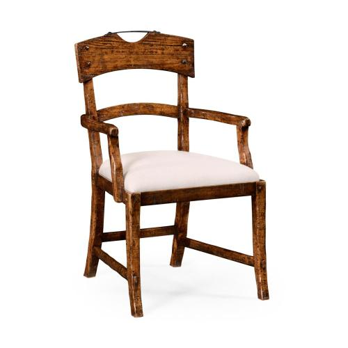 Planked walnut rustic armchair with upholstered seat