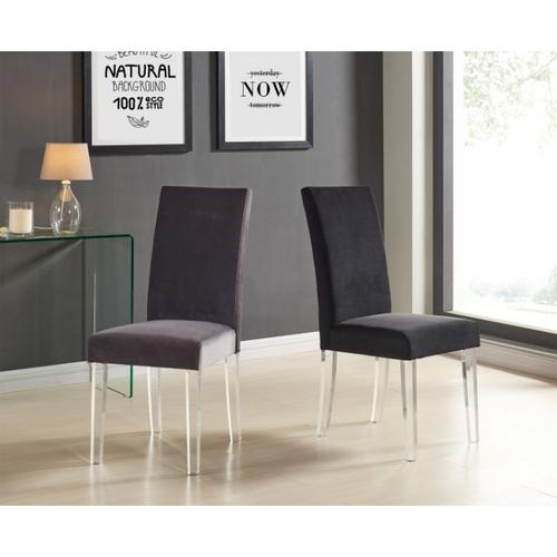 Armen Living - Armen Living Dalia Modern and Contemporary Dining Chair in Black Velvet with Acrylic Legs (Set of 2)