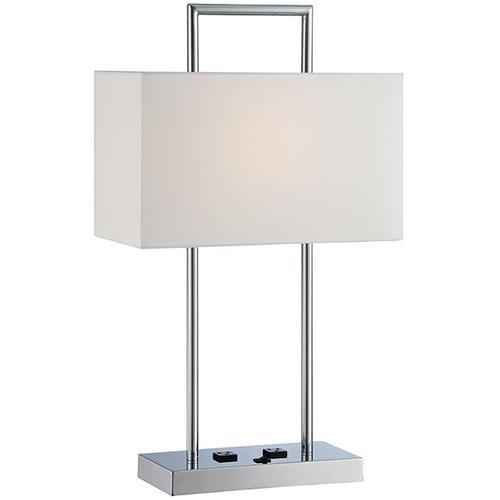 Table Lamp, Chrome/white Fabric, Outlet X2pcs, E27 Cfl 23w