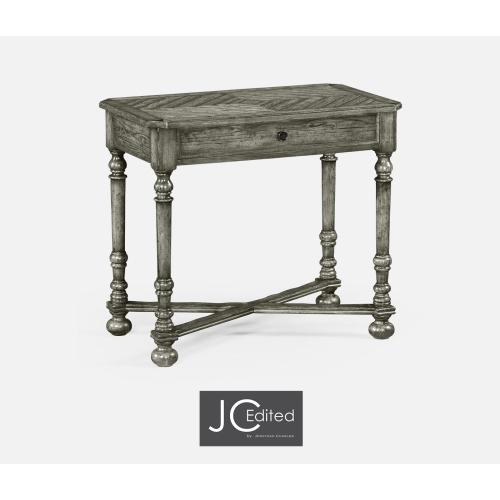 Antique Dark Grey Parquet Rectangular Side Table with Contrast Inlay