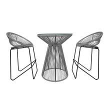 Acapulco 3 Piece Bar Chair Set - Space Gray/Black