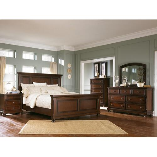 California King Panel Bed With Mirrored Dresser, Chest and Nightstand