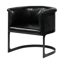 Frazier Black Leather Seat w/ Metal Base Barrel Accent Chair