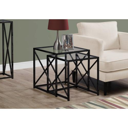 NESTING TABLE - 2PCS SET / BLACK NICKEL METAL / TEMPERED
