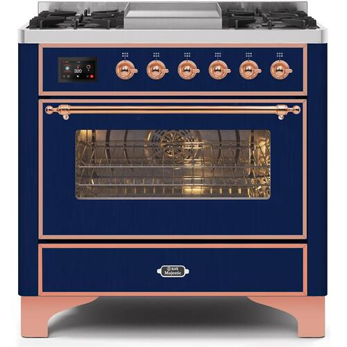 Product Image - Majestic II 36 Inch Dual Fuel Liquid Propane Freestanding Range in Blue with Copper Trim