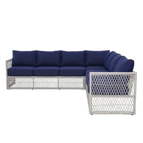 Simple Weave Sofa & Corner Chair - Cushions in Blue