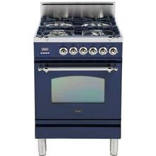 Nostalgie 24 Inch Gas Natural Gas Freestanding Range in Blue with Chrome Trim