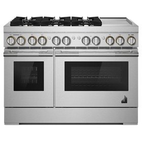 """RISE 48"""" Dual-Fuel Professional-Style Range with Chrome-Infused Griddle and Steam Assist"""