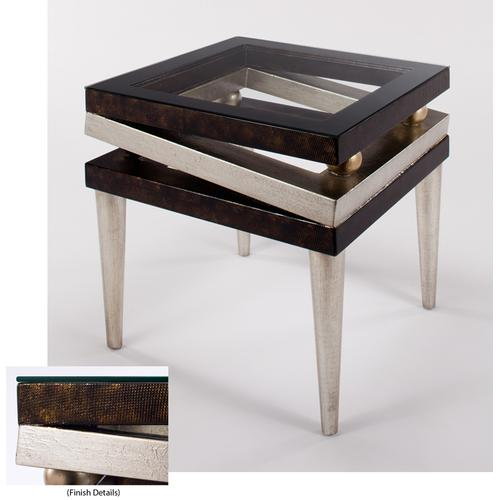 End Table with Glass 23x23x26""