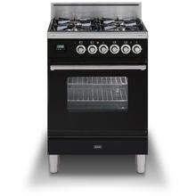 "24"" Inch Glossy Black Natural Gas Freestanding Range"