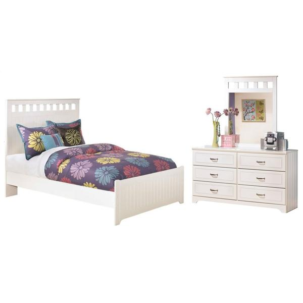 See Details - Full Panel Headboard With Mirrored Dresser