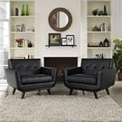 Engage Leather Sofa Set in Black Product Image