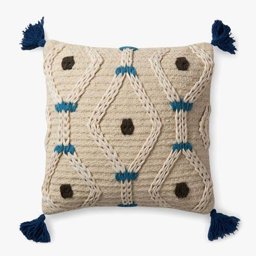 P0486 Ivory / Blue Pillow