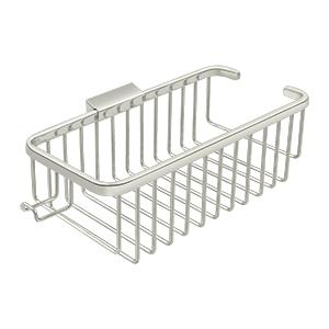 "Wire Basket 10-3/8"", Deep, Rectangular with Hook - Polished Nickel Product Image"
