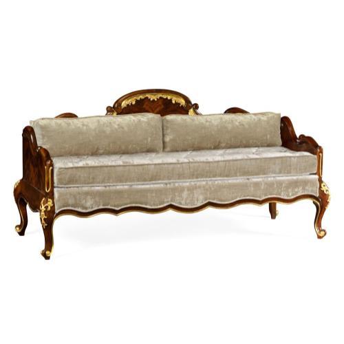 Bedroom Bench for Gilded Carving, Upholstered in Calico Velvet