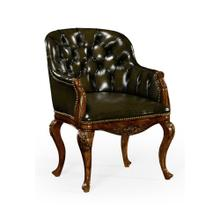 Chesterfield style armchair with medium English library green leather