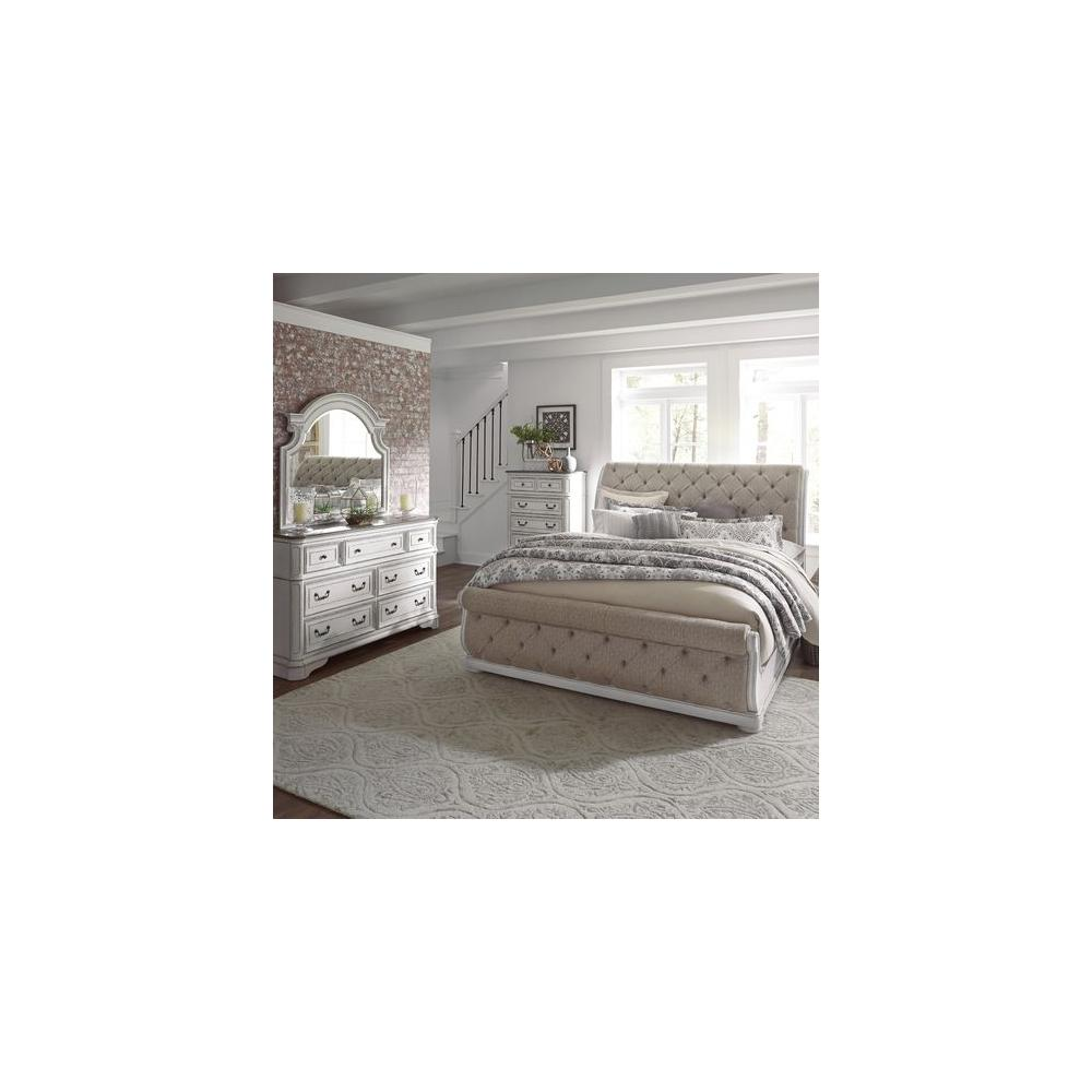 King California Upholstered Sleigh Bed, Dresser & Mirror, Chest