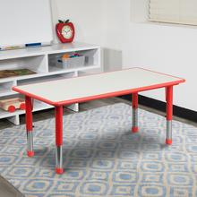 See Details - 23.625''W x 47.25''L Rectangular Red Plastic Height Adjustable Activity Table with Grey Top