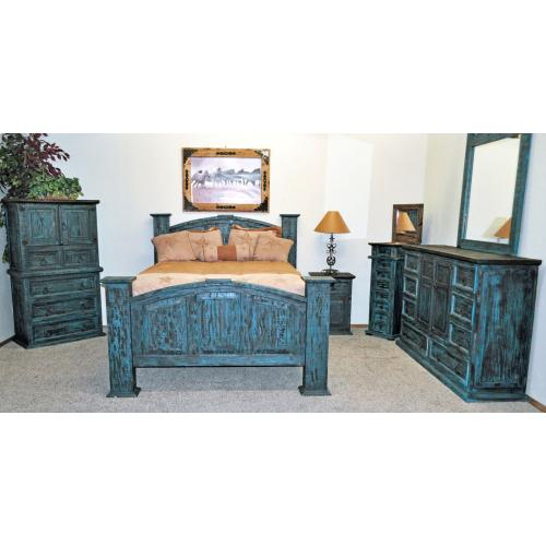 Turquoise Scraped Mansion Bedroom Group
