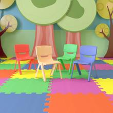 """4 Pack Plastic Stackable School Chairs with 13.25"""" Seat Height, Assorted Colors [4-YU-YCX-004-MULTI-GG]"""