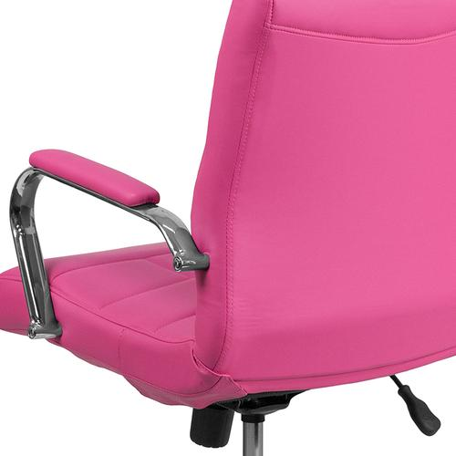 Gallery - Mid-Back Pink Vinyl Executive Swivel Office Chair with Chrome Base and Arms