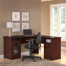 Cabot L Shaped Computer Desk and Chair Set - Harvest Cherry