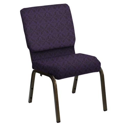 Flash Furniture - HERCULES Series 18.5''W Church Chair in Faith Concord Fabric - Gold Vein Frame