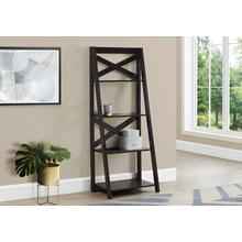 "BOOKCASE - 60""H / ESPRESSO LADDER WITH 4 SHELVES"
