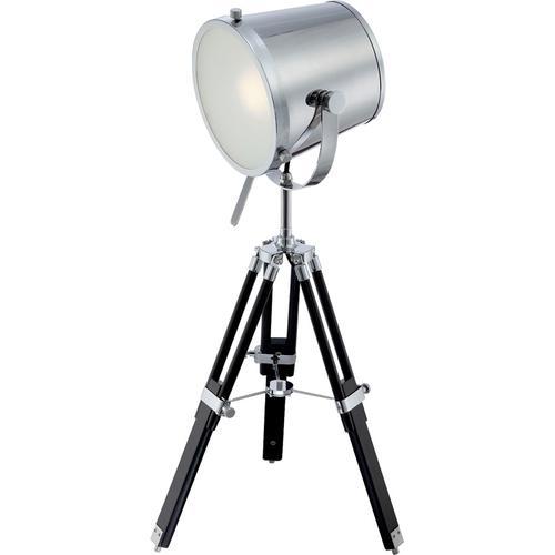 Table Lamp, Chrome/black/metal Shade, E27 Cfl 13w