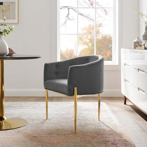Savour Tufted Performance Velvet Accent Chair in Gray